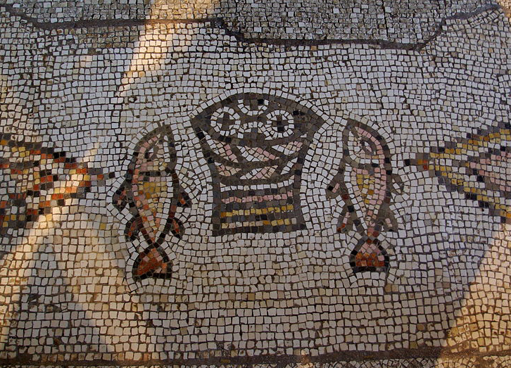 Mosaic, Church of the Multiplication, Tabgha Photo: Berthold Werner, Wikimedia Commons