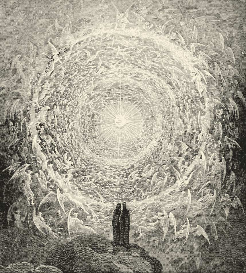 Rosa Celeste: Dante and Beatrice gaze upon the highest Heaven, The Empyrean Artist: Gustave Doré Image: Wikimedia Commons