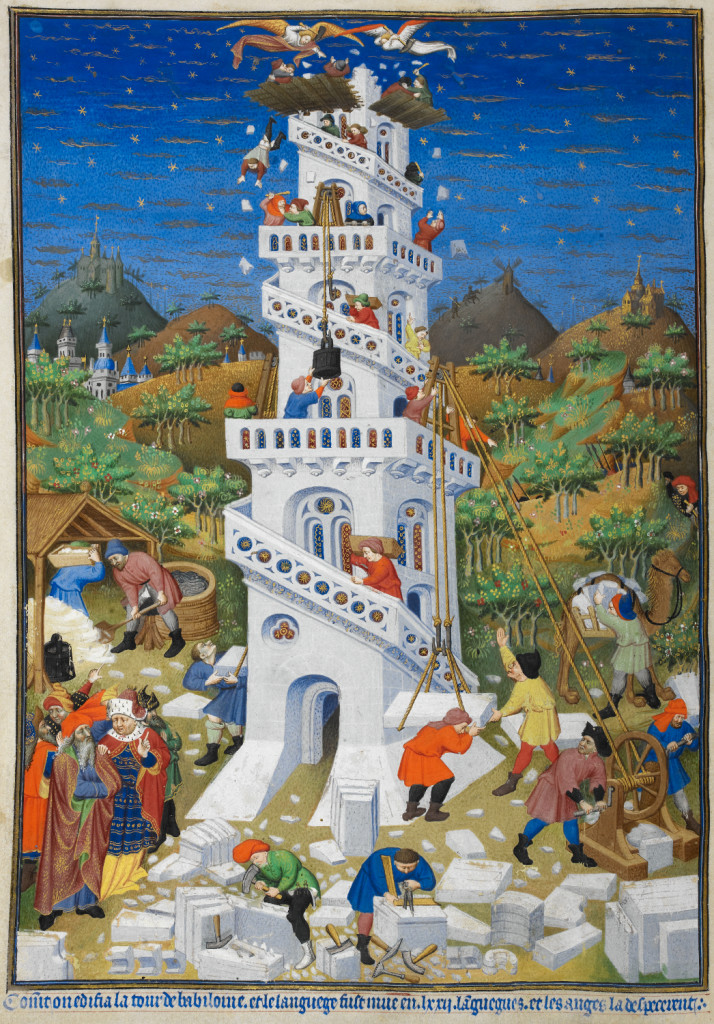 Building of the Tower of Babel British Library, Add MS 18850 f17v Photo via Wikimedia Commons