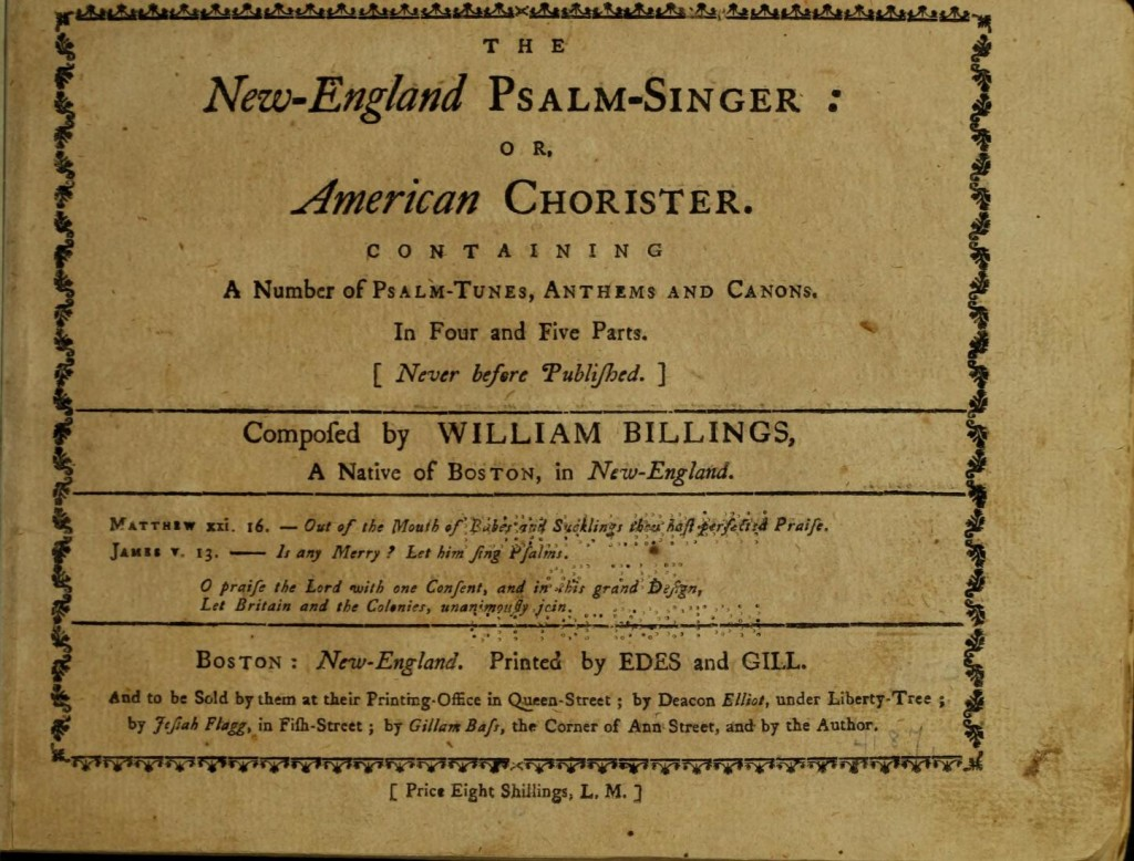 Billings Newenglandpsalms title page bill_0009