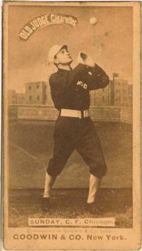 Billy Sunday, Center Field., Chicago White Stockings, c. 1887 Goodwin & Co. tobacco baseball card Image: Wikimedia Commons
