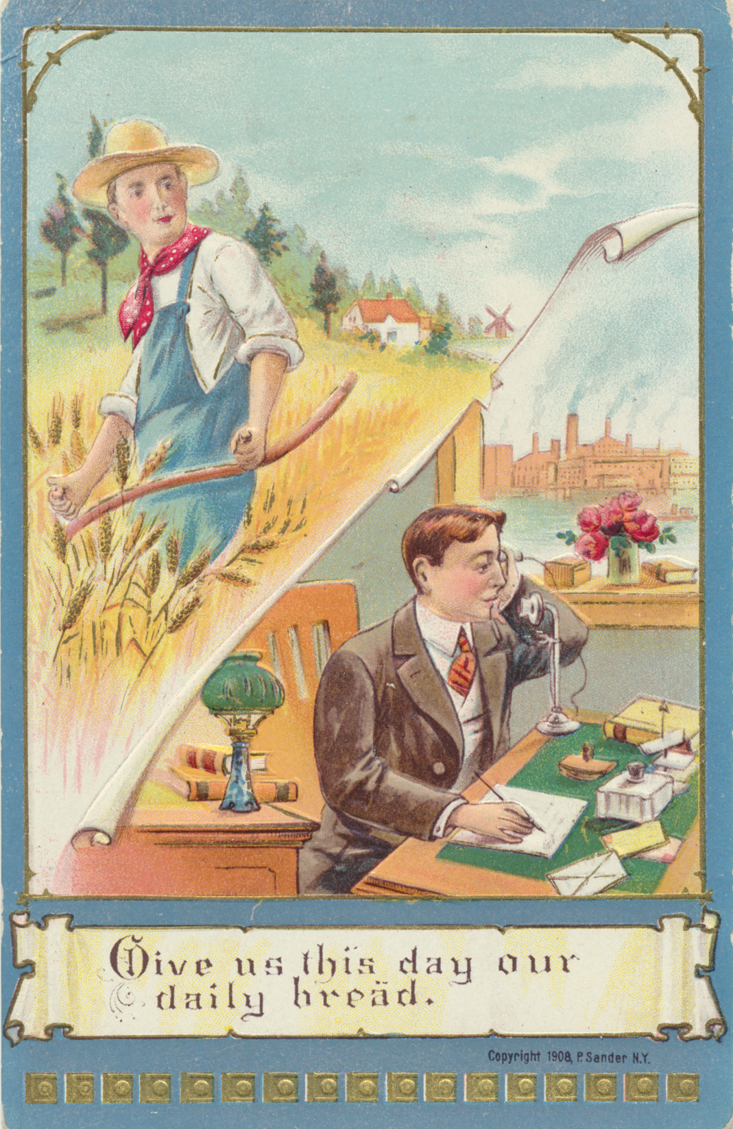 Lord's Prayer postcard printed by P. Sander, NY. 1908
