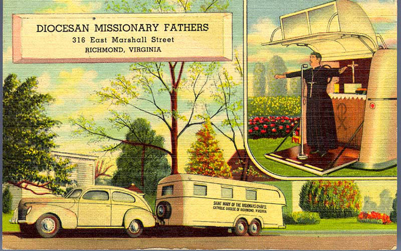 Diocesan Missionary Fathers, Richmond, VA St. Mary of the Highways I & II Genuine Curteich Chicago 'C.T. Art Colortone'